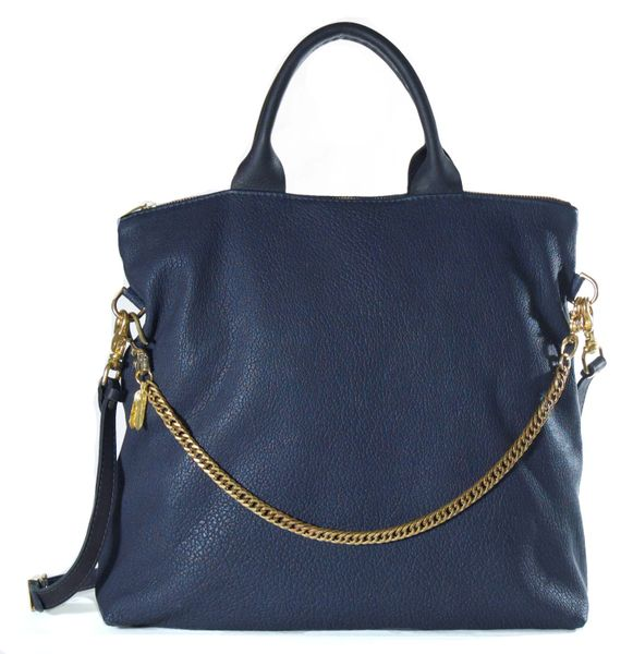 Navy Tote with Chain