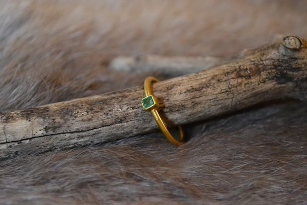 Square Emerald- 24k Gold