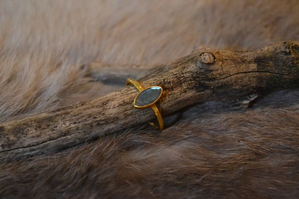 Labradorite Ring- 24k Gold