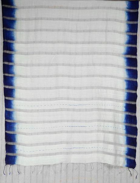 Indigo Dip Dyed Silk Stole