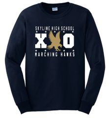 SHS Marching Hawks XO Navy Long Sleeve Tshirt