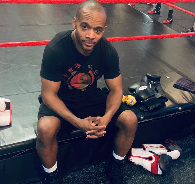 Perennial Boxing + Fitness Coach Ralph Gilmore private training workout photoshoot at NYC, Noho gym.