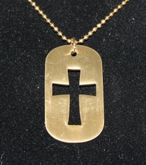 Buck Lee's Large Dog Tag Style Gold Tone Cross With Chain
