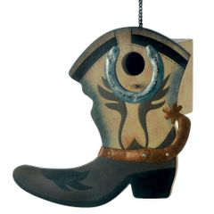 Songbird Valley Western Boot Birdhouse Wood Metal
