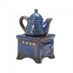 Teapot Stove Oil Warmer Porcelain Blue