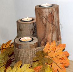 Buck Lee's Naturals 12 Pc Wooden Tea Candle Set w/Candles