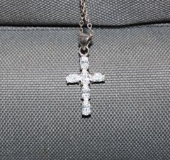 Buck Lee's Naturals Sterling Cross CZ & Chain With Clasp