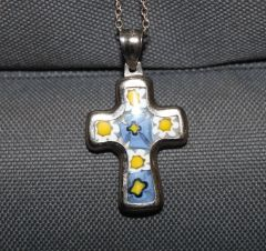 Millefiori Sterling Silver Cross With Chain