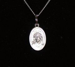 Crown Of Thorns / Madonna Double Sided Medallion With Chain & Clasp