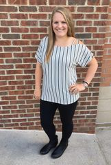 Vertical Stripe Cold Shoulder Top