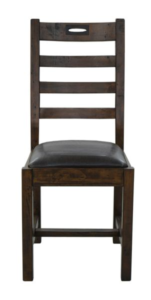 FSC Salvaged Timber Keyhole Ladderback Dining Chair in coffee bean
