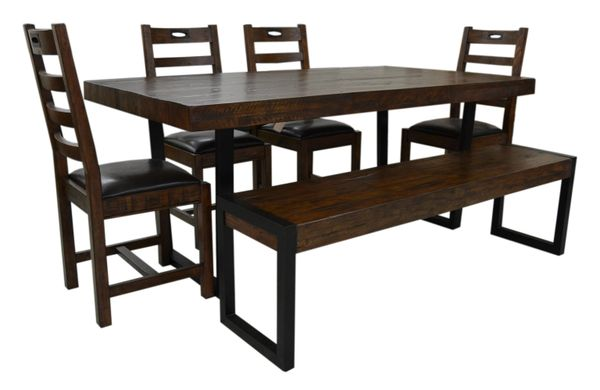 Flea Market Dining Set with 6 chairs in coffee bean