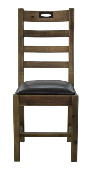 FSC Salvaged Timber Keyhole Dining Chair in natural rustic