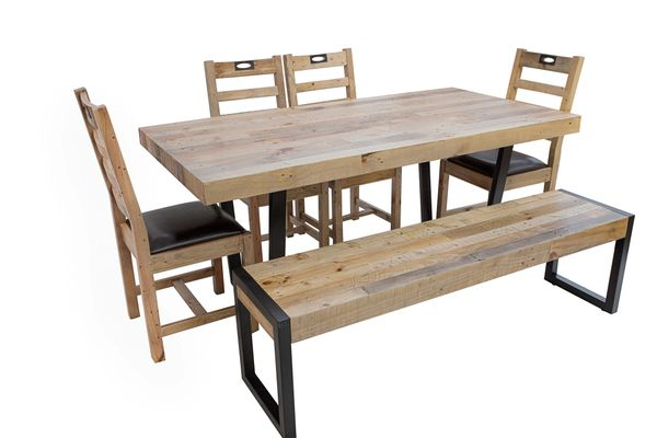 Flea Market Dining Set with 6 chairs in natural rustic