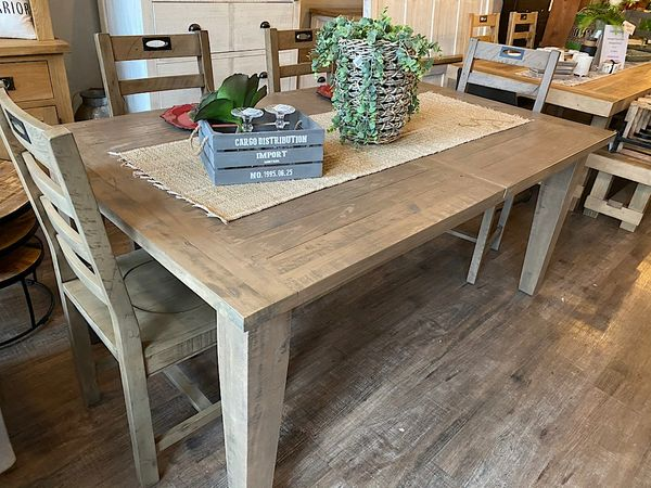 New England FSC Large Extending Dining Table in salvage grey