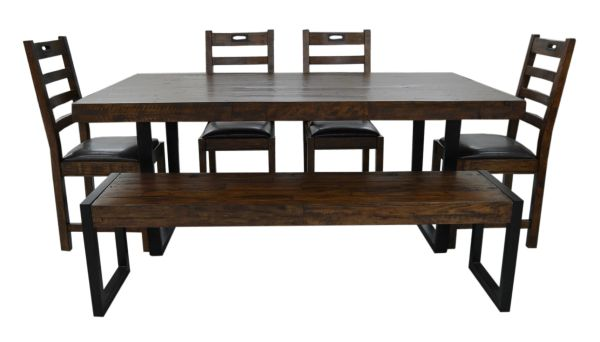 Flea Market 183cm fixed top dining table in coffee bean