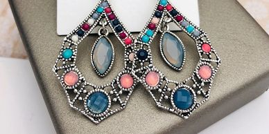 Bold, shinny, colorful, and inexpensive fashion earrings great for daily wear and dressing up