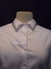 White Rhinestone Button Up Shirt