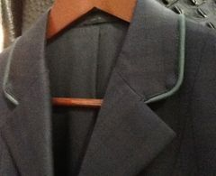 R.J. Classic Navy Plaid Hunt Jacket with green pipe