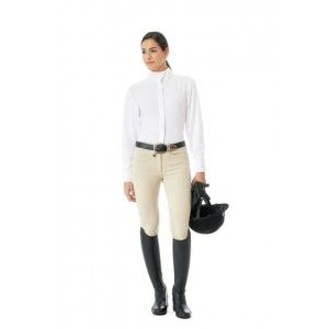 Ovation® Celebrity Slim Secret EuroWeave™ DX Euro Seat Front Zip Knee Patch Breeches - Ladies'