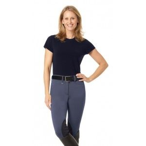 Ovation® Celebrity EuroWeave™ DX Euro Seat Front Zip Knee Patch Breeches - Ladies'