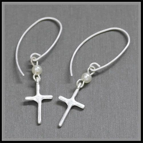 Worn Silver Cross & Small Ivory Pearl Linked Threader Earring.