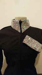 Black zip up shirt with AB stones