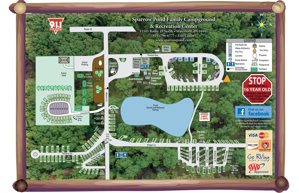 Sparrow Pond Family Campground Site Map, Campground Located 20 minutes from Presque Isle State Park