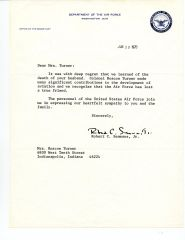 AIR FORCE & NASA: ROBERT C. SEAMANS, JR. TYPED LTR SIGNED REGARDING DEATH OF AM AVIATOR ROSCOE TURNER