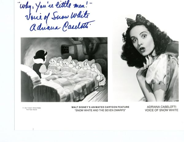 "ADRIANA CASELOTTI SIGNED DISNEY, SNOW WHITE & SEVEN DWARFS, ""WHY YOU'RE LITTLE MEN"""