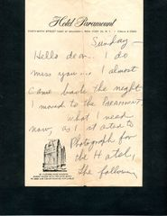 WEEGEE (ARTHUR FELLIG) SIGNED HANDWRITTEN LTR. REQUESTING KALIMAR CAMERA AND ALL TYPES OF LENSES FOR PROJECT
