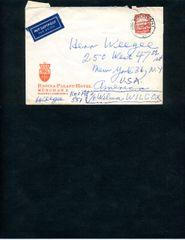 WEEGEE (ARTHUR FELLIG) TWICE SIGNED HANDWRITTEN GERMAN HOTEL ENVELOPE