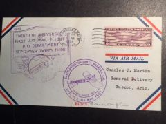 EARLE OVINGTON SIGNED FIRST DAY ISSUE POSTAL COVER FOR THE TWENTIETH ANNIVERSARY OF HIS FIRST AIR MAIL FLIGHT ON SEPTEMBER 23, 1911