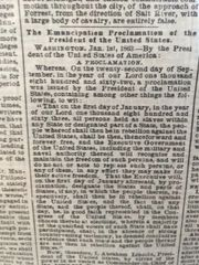 ABRAHAM LINCOLN EMANCIPATION PROCLAMATION RARE FIRST PRINTED NEWSPAPER NOTICE OF THE SIGNING JANUARY 2, 1863