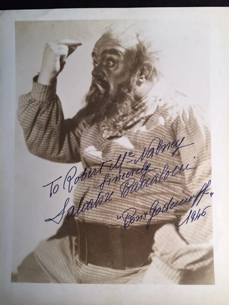 SALVATORE BACCALONI SIGNED PHOTO OF ITALIAN BASS AS BORIS GODOUNOFF IN MOUSSORGSKY AT NY MET, 1946