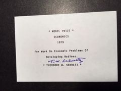 THEODORE W. SCHULTZ SIGNED NOBEL PRIZE WINNING CARD FOR ECONOMICS IN 1979