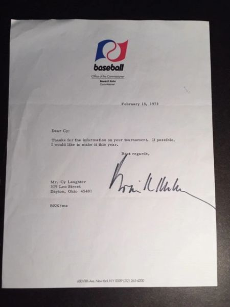 BOWIE K. KUHN SIGNED LETTER ON BASEBALL OFFICE OF THE COMMISSIONER LETTERHEAD