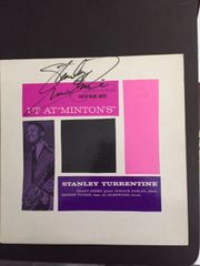 STANLEY TURRENTINE SIGNED BLUE NOTE LP ALBUM COVER UP AT MINTON'S VOL 2 - PSA/DNA