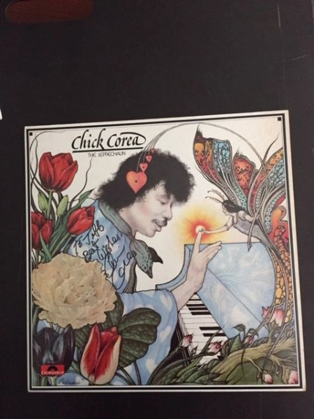 CHICK COREA SIGNED LP ALBUM COVER FOR THE LEPRECHAUN BY AM JAZZ PIANIST, COMPOSER