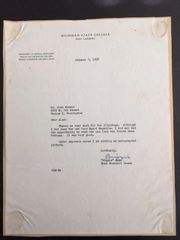 CLARENCE BIGGIE MUNN SIGNED LETTER ON MICHIGAN STATE COLLEGE LETTERHEAD - FOOTBALL HOF