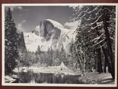 ANSEL ADAMS HAND SIGNED PHOTO LITHOGRAPH HALF DOME MERCED RIVER, WINTER YOSEMITE NAT PK, CA