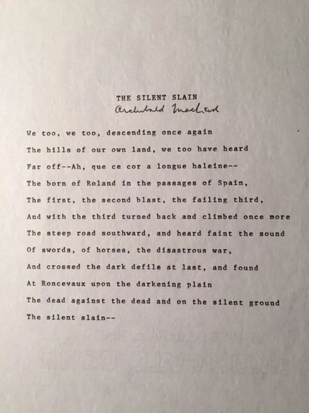 ARCHIBALD MACLEISH SIGNED TYPESCRIPT OF HIS POEM THE SILENT SLAIN ABOUT BATTLE OF RONCEVAUX