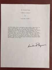 WILLIAM STYRON SIGNED TYPESCRIPT FROM SOPHIE'S CHOICE AM NOVELIST & ESSAYIST
