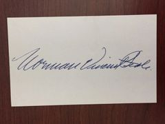 NORMAN VINCENT PEALE SIGNED CARD MINISTER/AUTHOR POWER OF POSITIVE THINKING