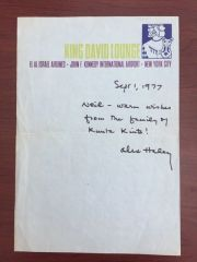 ALEX HALEY HANDWRITTEN LETTER SIGNED ABOUT ROOTS, KUNTA KINTE, 1977