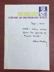 ALEX HALEY HANDWRITTEN LETTER SIGNED ABOUT ROOTS, KUNTA KINTE, 1977