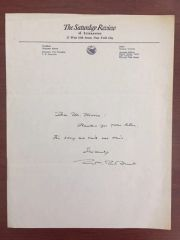 WILLIAM ROSE BENET HANDWRITTEN LTR SIGNED PULITZER PRIZE POETRY SATURDAY REVIEW LETTERHEAD