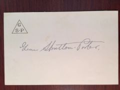 GENE STRATTON PORTER SIGNED PERSONAL EMBOSSED NOTECARD AM AUTHOR NATURALIST