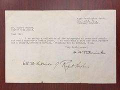 RUPERT HUGHES SIGNED TYPED LTR. FROM FAN BY NOVELIST, FILM DIRECTOR, COMPOSER