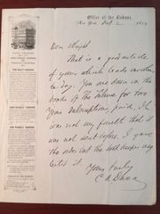 CHARLES ANDERSON DANA HANDWRITTEN LETTER SIGNED 1854 N. Y. TRIBUNE